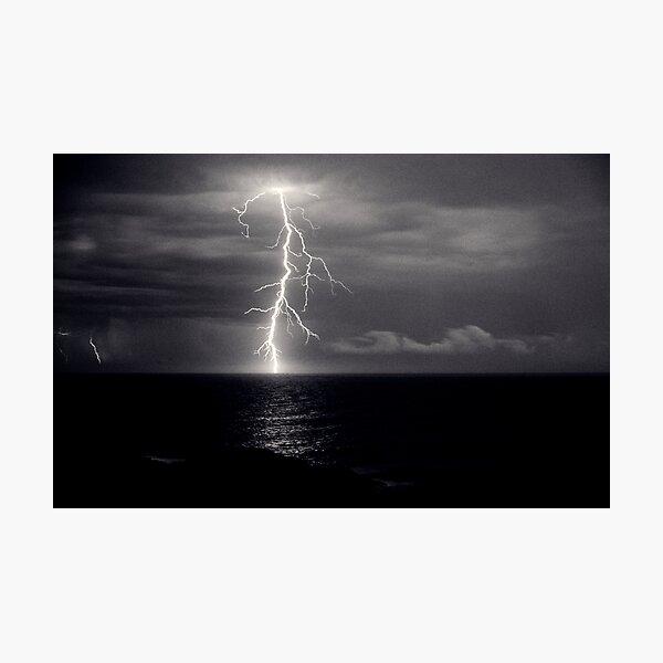 Dusk lightning over sea Photographic Print
