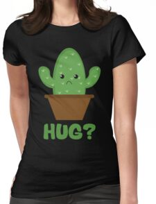 Hug? (Cactus) Womens Fitted T-Shirt