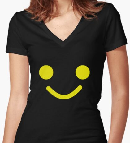 Smiling Minifig Face Women's Fitted V-Neck T-Shirt