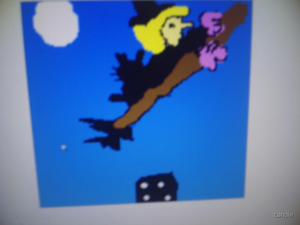 A witch flying over by candle