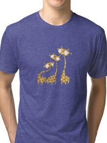 Cute Giraffe Family - Savannah Animals Tri-blend T-Shirt