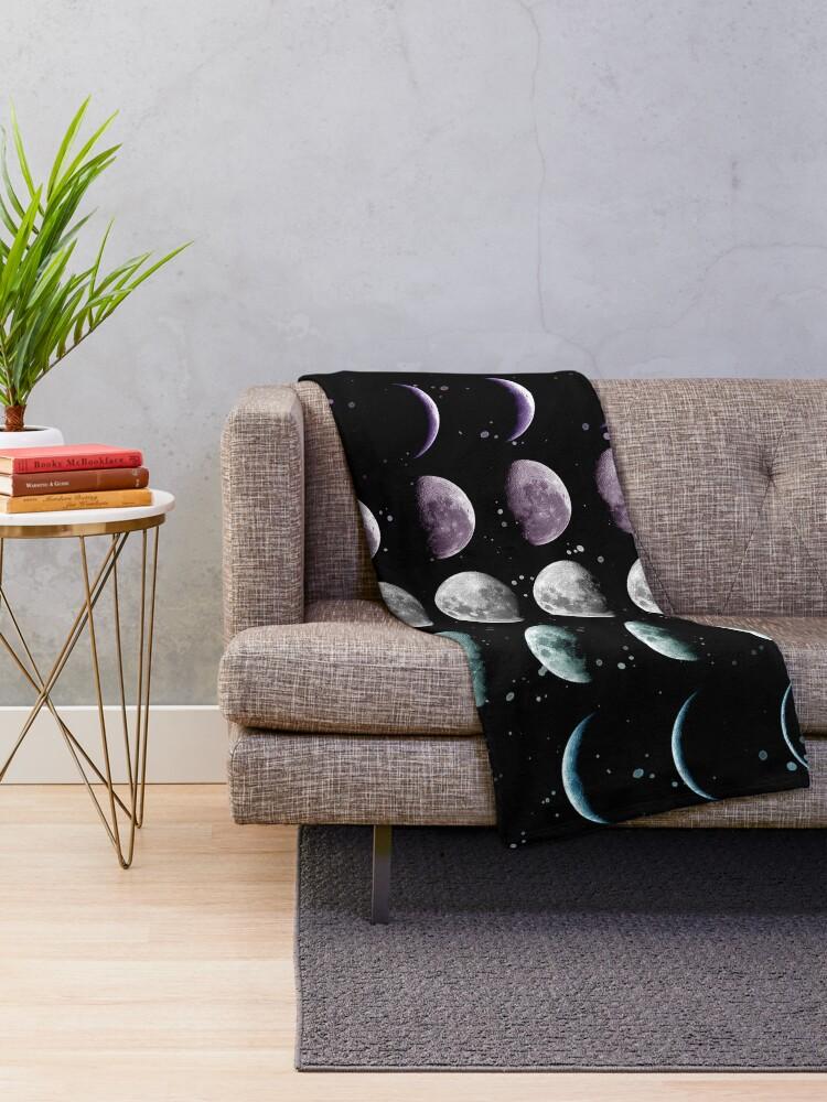 Alternate view of Moon Phase Throw Blanket