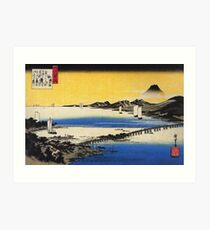 Hiroshige - Eight Views of Omi 7: Evening Glow in Seta (1834) Art Print