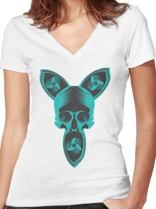 DroneSkull Women's Fitted V-Neck T-Shirt