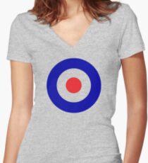 Bullseye target design with added color Women's Fitted V-Neck T-Shirt