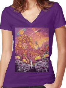 Rick and Mortys' World 2.0  Women's Fitted V-Neck T-Shirt