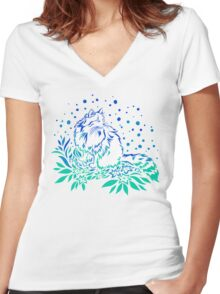 Snowcat in Spring Women's Fitted V-Neck T-Shirt