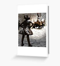 Defiant Girl Statue Greeting Card