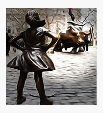 Defiant Girl Statue Photographic Print