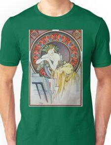 Alphonse Mucha - Girl With Easel Unisex T-Shirt