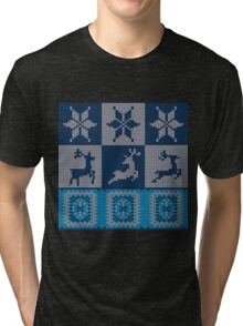 Blue Knitted Pattern 2 Tri-blend T-Shirt