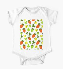 Pattern Hand Drawing Strawberries Flowers One Piece - Short Sleeve