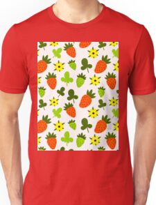 Pattern Hand Drawing Strawberries Flowers Unisex T-Shirt