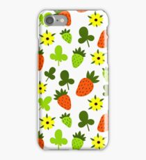 Pattern Hand Drawing Strawberries Flowers iPhone Case/Skin