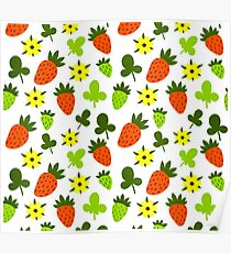 Pattern Hand Drawing Strawberries Flowers Poster