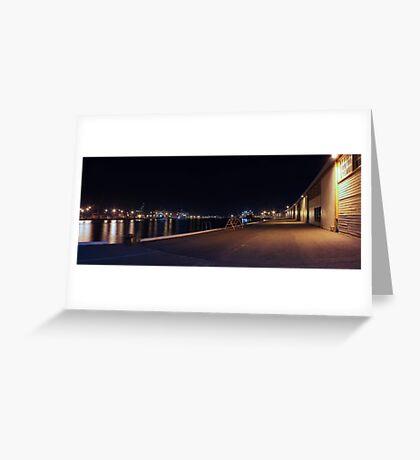 Fremantle Docks At Night Panorama  Greeting Card