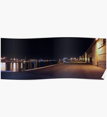 Fremantle Docks At Night Panorama  Poster