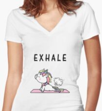 Exhale Unicorn Yoga Fart Women's Fitted V-Neck T-Shirt