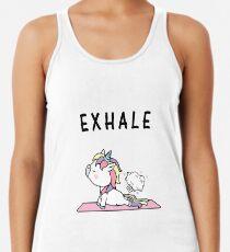 Exhale Unicorn Yoga Fart Racerback Tank Top