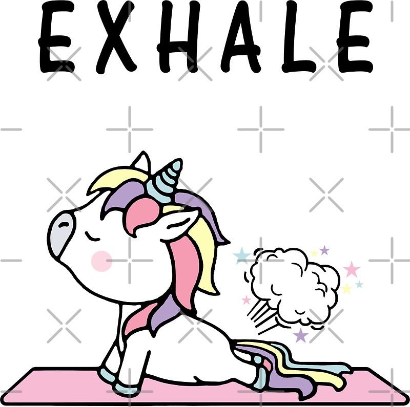 Exhale Unicorn Yoga Fart Stickers Blonya Redbubble