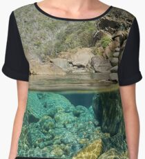 over underwater river rocks stack of pebbles Women's Chiffon Top