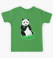 Panda Eating Bamboo Printmaking Art Kids Tee