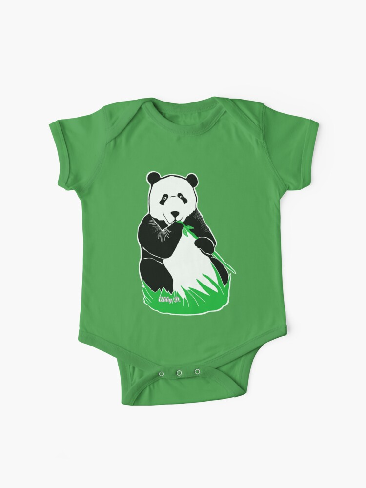 Panda Eating Bamboo Printmaking Art Baby One Piece By Abigaildavidson Redbubble