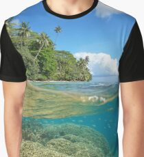 over under sea tropical coast coral reef underwater Graphic T-Shirt