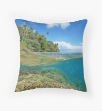 over under sea tropical coast coral reef underwater Throw Pillow