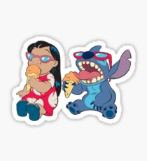 lilo and stitch eating ice cream Sticker
