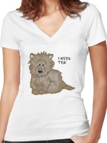 I Need Tea Dog Buster Women's Fitted V-Neck T-Shirt