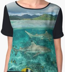 Over under sharks fish underwater Pacific island Chiffon Top