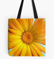 Yellow Flower Petals with Blue Background Tote Bag