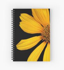 Yellow Flower Petals with Black Background Spiral Notebook