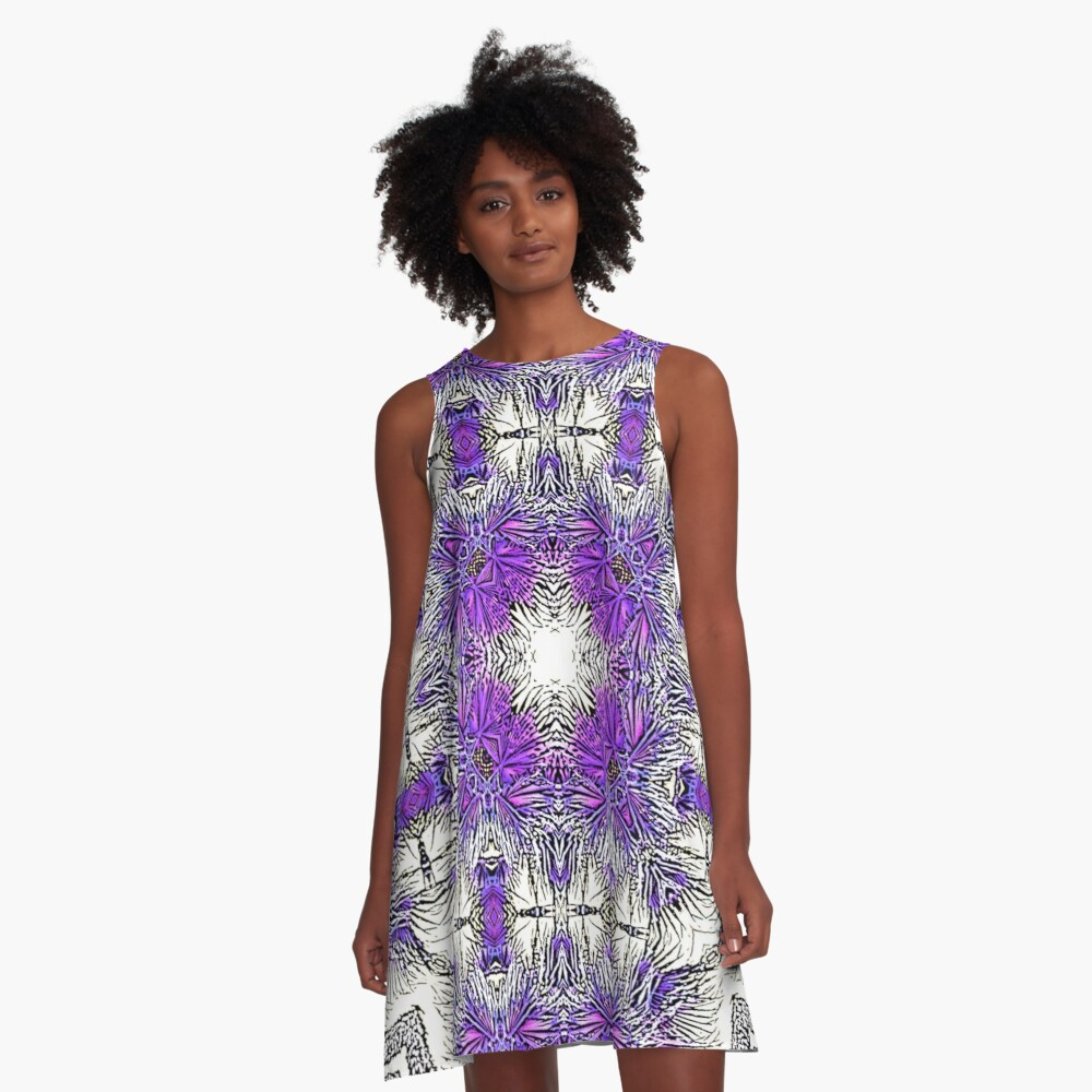 Palm Leaves Abstract Art Pattern  A-Line Dress Front