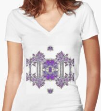 Passionately Purple Palm Leaves  Women's Fitted V-Neck T-Shirt