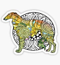 BORZOI Coloring Book Style Sticker