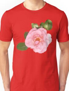 Pink Flower Petals in Blue Background Unisex T-Shirt