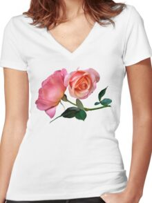 Pink Rose Flower with Green Background Women's Fitted V-Neck T-Shirt