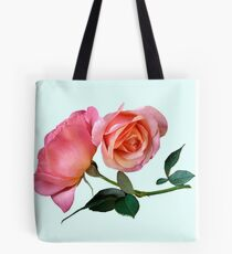 Pink Rose Flower with Green Background Tote Bag
