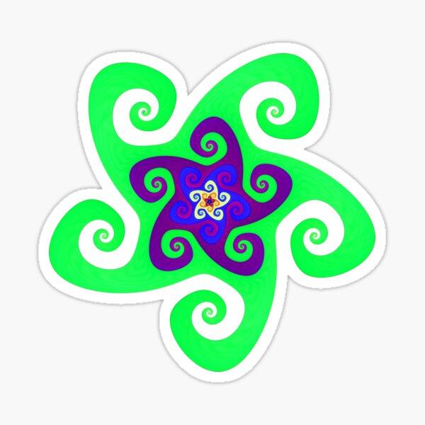 Mandala Spiral Green Purple Vert Violet Sticker