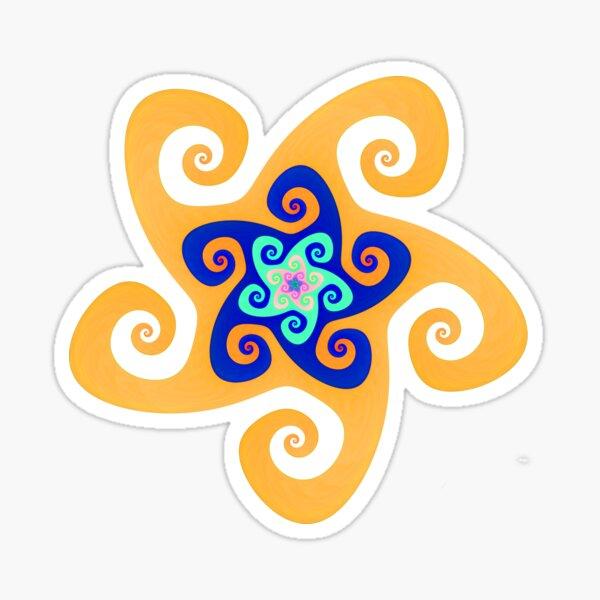 Mandala Spiral Blue Orange MD03 Sticker