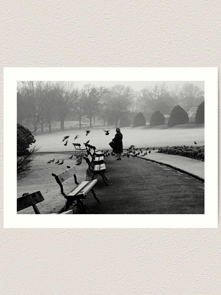 Alternate view of Shy woman feeding pigeons Art Print