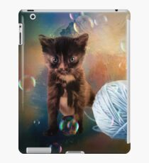 Playful cute black kitten iPad Case/Skin