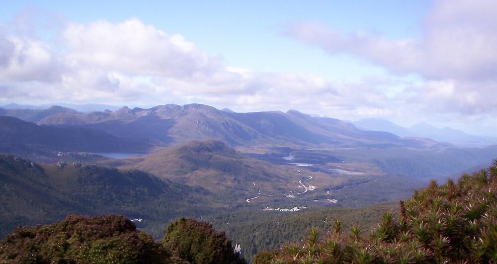 looking towards Henty, gold mine area, in Tasmania, from Mt Read by gaylene
