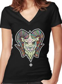 Psychedelic Aries Women's Fitted V-Neck T-Shirt