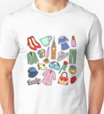 English Lady Woman Fashion Badges, Patches, Stickers with Clothes and Jewelry. Vector Doodle Unisex T-Shirt