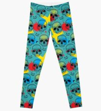 Pattern with dotted skull, arrows, crosses and red blots. Leggings