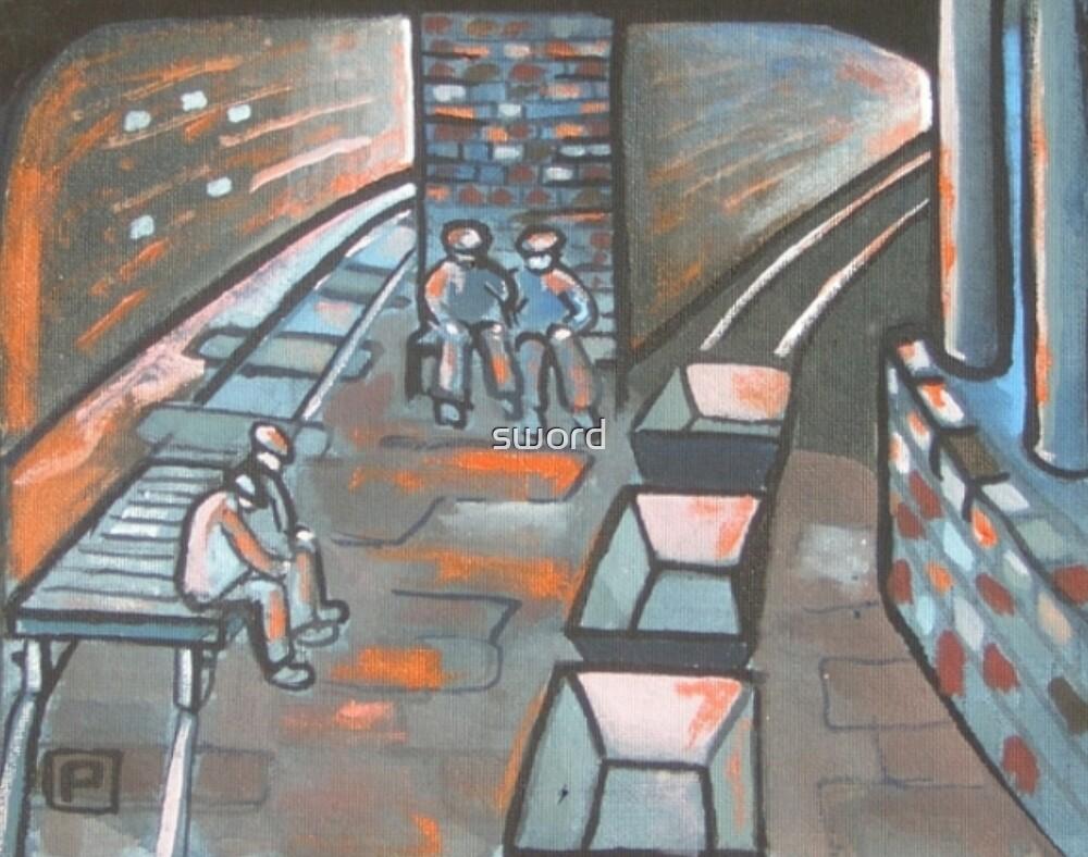 Pit break.Coal miners having a break  by sword