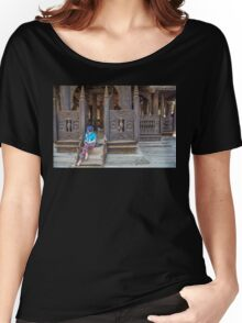Myanmar. Wooden Monastery. Posing Young Lady. Women's Relaxed Fit T-Shirt